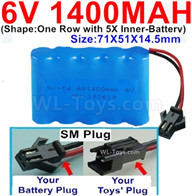 1400mah 6V RC Car Battery Pack-6 Volt 1400mah Ni-Cd Battery AA-With SM Plug,6V 1400mah Rechargeable Battery For RC Car Truck,(Shape-One Row With 5 Inner-Battery)-Size-70x50x15mm