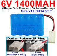 1400mah 6V RC Car Battery Pack-6 Volt 1400mah Battery AA-With Datian Palace-2P Plug(The D-Shape hole is Black wire),6V 1400mah Rechargeable Battery For RC Car Truck,(Shape-One Row With 5 Inner-Battery)-Size-71X51X14.5mm