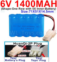 1400mah 6V RC Car Battery Pack-6 Volt 1400mah Ni-Cd Battery AA-With HuanQi-2P plug(1X Square hole+ 1X D-Shape Hole.The D-Shape Hole is Red Wire),6V 1400mah Rechargeable Battery For RC Car Truck,(Shape-One Row With 5 Inner-Battery)-Size-71X51X14.5mm