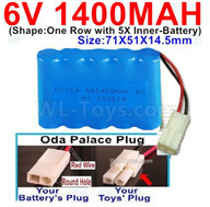 1400mah 6V RC Car Battery Pack-6 Volt 1400mah Ni-Cd Battery AA-With Oda Palace Plug(Round hole-Red Wire),6V 1400mah Rechargeable Battery For RC Car Truck,(Shape-One Row With 5 Inner-Battery)-Size-70x50x15mm