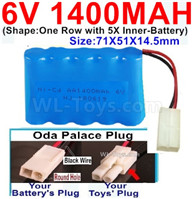 1400mah 6V NiCd Battery Pack-AA 1400mah 6 Volt NiCD Rechargeable Battery-With Oda Palace Plug(Round hole-Black Wire),6V 1400mah Ni-Cd Rechargeable Battery For RC Car Truck,(Shape-One Row With 5 Inner-Battery)-Size-70x50x15mm