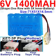 1400mah 6V RC Car Battery Pack-6 Volt 1400mah Ni-Cd Battery AA-With KET-3P Plug(Hollow)-(2X Suare Hole+1X D-Shape Hole,The Middle hole is Black wire),6V 1400mah Rechargeable Battery For RC Car Truck,(Shape-One Row With 5 Inner-Battery)-Size-71X51X14.5mm