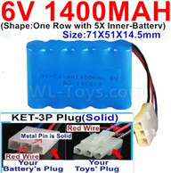 1400mah 6V RC Car Battery Pack-6 Volt 1400mah Ni-Cd Battery AA-With KET-3P Plug(Solid)-(2X Suare Hole+1X D-Shape Hole,The Middle hole is Red wire-Size-71X51X14.5mm