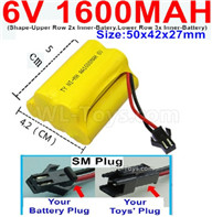 1600mah 6V RC Car Battery Pack-6 Volt 1600mah Ni-MH Battery) AA-With SM Plug,6V 1600mah Rechargeable Battery For RC Car Truck,(Shape-Upper Row with 2x Inner-Batery,Lower Row with 3x Inner-Battery)-Size-50x42x27mm,6V 1600mah Rechargeable RC Battery Pack