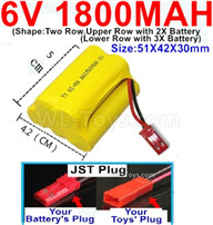 1800mah 6V RC Car Battery Pack-6 Volt 1800mah Ni-MH Battery) AA-With JST Plug,6V 1800mah Rechargeable Battery For RC Car Truck,(Shape-Upper Row with 2x Inner-Batery,Lower Row with 3x Inner-Battery)-Size-51X42X30mm