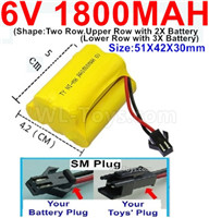 1800mah 6V RC Car Battery Pack-6 Volt 1800mah Ni-MH Battery) AA-With SM Plug,6V 1800mah Rechargeable Battery For RC Car Truck,(Shape-Upper Row with 2x Inner-Batery,Lower Row with 3x Inner-Battery)-Size-51X42X30mm