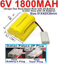 1800mah 6V RC Car Battery Pack-6 Volt 1800mah Ni-MH Battery) AA-With Datian Palace-2P Plug(The D-Shape hole is Black wire),6V 1800mah Rechargeable Battery For RC Car Truck,(Shape-Upper Row with 2x Inner-Batery,Lower Row with 3x Inner-Battery)-Size-51X42X30mm