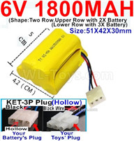 1800mah 6V RC Car Battery Pack-6 Volt 1800mah Ni-MH Battery) AA-With KET-3P Plug(Hollow)-(2X Suare Hole+1X D-Shape Hole,The Middle hole is Black wire),6V 1800mah Rechargeable Battery For RC Car Truck,(Shape-Upper Row with 2x Inner-Batery,Lower Row with 3x Inner-Battery)-Size-51X42X30mm