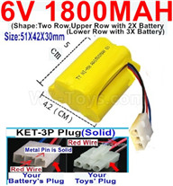 1800mah 6V RC Car Battery Pack-6 Volt 1800mah Ni-MH Battery) AA-With KET-3P Plug(Solid)-(2X Suare Hole+1X D-Shape Hole,The Middle hole is Red wire-Size-51X42X30mm