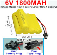 1800mah 6V RC Car Battery Pack-6 Volt 1800mah Ni-MH Battery) AA-With SM Plug(Shape-Upper Row-1 Inner-Batery,Lower Row-4 Inner-Battery),6V 1800mah Rechargeable RC Battery Pack