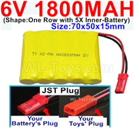 1800mah 6V RC Car Battery Pack-6 Volt 1800mah Ni-MH Battery AA-With JST Plug,6V 1800mah Rechargeable Battery For RC Car Truck,(Shape-One Row With 5 Inner-Battery)-Size-70x50x15mm