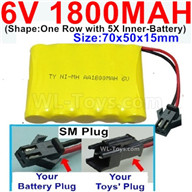 1800mah 6V RC Car Battery Pack-6 Volt 1800mah Ni-MH Battery AA-With SM Plug,6V 1800mah Rechargeable Battery For RC Car Truck,(Shape-One Row With 5 Inner-Battery),6V 1800mah Rechargeable RC Battery Pack
