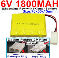 1800mah 6V RC Car Battery Pack-6 Volt 1800mah Ni-MH Battery AA-With Datian Palace-2P Plug(The D-Shape hole is Black wire),6V 1800mah Rechargeable Battery For RC Car Truck,(Shape-One Row With 5 Inner-Battery)-Size-70x50x15mm