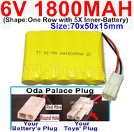 1800mah 6V RC Car Battery Pack-6 Volt 1800mah Ni-MH Battery AA-With Oda Palace Plug(Round hole-Red Wire),6V 1800mah Rechargeable Battery For RC Car Truck,(Shape-One Row With 5 Inner-Battery)-Size-70x50x15mm