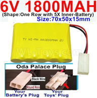 1800mah 6V RC Car Battery Pack-6 Volt 1800mah Ni-MH Battery AA-With Oda Palace Plug(Round hole-Black Wire),6V 1800mah Rechargeable Battery For RC Car Truck,(Shape-One Row With 5 Inner-Battery)-Size-70x50x15mm