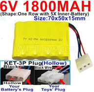 1800mah 6V RC Car Battery Pack-6 Volt 1800mah Ni-MH Battery AA-With KET-3P Plug(Hollow)-(2X Suare Hole+1X D-Shape Hole,The Middle hole is Black wire),6V 1800mah Rechargeable Battery For RC Car Truck,(Shape-One Row With 5 Inner-Battery)-Size-70x50x15mm