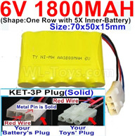 1800mah 6V RC Car Battery Pack-6 Volt 1800mah Ni-MH Battery AA-With KET-3P Plug(Solid)-(2X Suare Hole+1X D-Shape Hole,The Middle hole is Red wire-Size-70x50x15mm