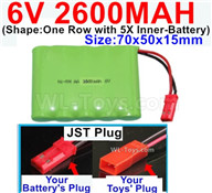 2600mah 6V RC Car Battery Pack-6 Volt 2600mah Ni-MH Battery AA-With JST Plug,6V 2600mah Rechargeable Battery For RC Car Truck,(Shape-One Row with 5X Inner-Battery)-Size-70x50x15mm