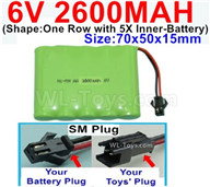 2600mah 6V RC Car Battery Pack-6 Volt 2600mah Ni-MH Battery AA-With SM Plug,6V 2600mah Rechargeable Battery For RC Car Truck,(Shape-One Row with 5X Inner-Battery)-Size-70x50x15mm