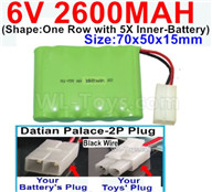 2600mah 6V RC Car Battery Pack-6 Volt 2600mah Ni-MH Battery AA-With Datian Palace-2P Plug(The D-Shape hole is Black wire)-Size-70x50x15mm