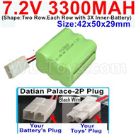 7.2V 3300MAH NiMH Battery Pack-7.2 Volt 3300MAH NI-MH Battery-With Datian Palace-2P Plug(The D-Shape hole is Black wire)-(Shape-Two Row.Each Row with 3X Inner-Battery)-Size-42x50x29mm,7.2V RC Car NiMH Battery,7.2V NiMH Battery Pack for rc cars,boat,tank,etc.