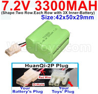 7.2V 3300MAH NiMH Battery Pack-7.2 Volt 3300MAH NI-MH Battery-With HuanQi-2P plug(1X Square hole+ 1X D-Shape Hole.The D-Shape Hole is Red Wire)-(Shape-Two Row.Each Row with 3X Inner-Battery)-Size-42x50x29mm,7.2V RC Car NiMH Battery,7.2V NiMH Battery Pack for rc cars,boat,tank,etc.