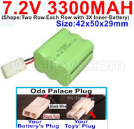 7.2V 3300MAH NiMH Battery Pack-7.2 Volt 3300MAH NI-MH Battery-With Oda Palace Plug(Round hole-Black Wire)-(Shape-Two Row.Each Row with 3X Inner-Battery)-Size-42x50x29mm,7.2V RC Car NiMH Battery,7.2V NiMH Battery Pack for rc cars,boat,tank,etc.