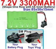 7.2V 3300MAH NiMH Battery Pack-7.2 Volt 3300MAH NI-MH Battery-With SM Plug-(Shape-One Row with 6X Inner-Battery)-Size-85x50x15mm,7.2V RC Car NiMH Battery,7.2V NiMH Battery Pack for rc cars,boat,tank,etc.