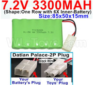 7.2V 3300MAH NiMH Battery Pack-7.2 Volt 3300MAH NI-MH Battery-With Datian Palace-2P Plug(The D-Shape hole is Black wire)-(Shape-One Row with 6X Inner-Battery)-Size-85x50x15mm,7.2V RC Car NiMH Battery,7.2V NiMH Battery Pack for rc cars,boat,tank,etc.