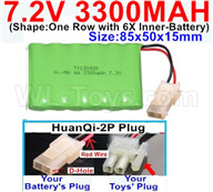 7.2V 3300MAH NiMH Battery Pack-7.2 Volt 3300MAH NI-MH Battery-With HuanQi-2P plug(1X Square hole+ 1X D-Shape Hole.The D-Shape Hole is Red Wire)-(Shape-One Row with 5X Inner-Battery)-Size-85x50x15mm,7.2V RC Car NiMH Battery,7.2V NiMH Battery Pack for rc cars,boat,tank,etc.