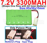 7.2V 3300MAH NiMH Battery Pack-7.2 Volt 3300MAH NI-MH Battery-With Oda Palace Plug(Round hole-Red Wire)-(Shape-One Row with 6X Inner-Battery)-Size-85x50x15mm,7.2V RC Car NiMH Battery,7.2V NiMH Battery Pack for rc cars,boat,tank,etc.