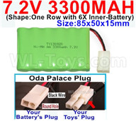 7.2V 3300MAH NiMH Battery Pack-7.2 Volt 3300MAH NI-MH Battery-With Oda Palace Plug(Round hole-Black Wire)-(Shape-One Row with 6X Inner-Battery)-Size-85x50x15mm,7.2V RC Car NiMH Battery,7.2V NiMH Battery Pack for rc cars,boat,tank,etc.