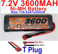 7.2V 3600MAH NiMH Battery Pack-7.2 Volt 3600mah NI-MH Battery AA-With T Plug-Horizontal-Red wire,Vertical-Black Wire-Size-134.5x47x24mm,7.2V RC Car NiMH Battery,7.2V NiMH Battery Pack for rc cars,boat,tank,etc.