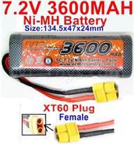 7.2V 3600MAH NiMH Battery Pack-7.2 Volt 3600mah NI-MH Battery AA-With XT60 Plug-Female Plug-Size-134.5x47x24mm,7.2V RC Car NiMH Battery,7.2V NiMH Battery Pack for rc cars,boat,tank,etc.