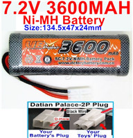 7.2V 3600MAH NiMH Battery Pack-7.2 Volt 3600mah NI-MH Battery AA-With Datian Palace-2P Plug(The D-Shape hole is Black wire)-Size-134.5x47x24mm,7.2V RC Car NiMH Battery,7.2V NiMH Battery Pack for rc cars,boat,tank,etc.