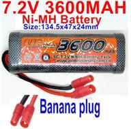 7.2V 3600MAH NiMH Battery Pack-7.2 Volt 3600mah NI-MH Battery AA-With Banana Plug-Size-134.5x47x24mm,7.2V RC Car NiMH Battery,7.2V NiMH Battery Pack for rc cars,boat,tank,etc.