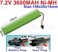 7.2V 3600MAH NiMH Battery Pack-7.2 Volt 3600MAH NI-MH Battery AA-With SM Plug-Size-148X28mmx14mm,7.2V RC Car NiMH Battery,7.2V NiMH Battery Pack for rc cars,boat,tank,etc.