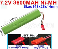 7.2V 3600MAH NiMH Battery Pack-7.2 Volt 3600MAH NI-MH Battery AA-With JST Plug-Size-148X28mmx14mm,7.2V RC Car NiMH Battery,7.2V NiMH Battery Pack for rc cars,boat,tank,etc.