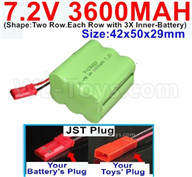 7.2V 3600MAH NiMH Battery Pack-7.2 Volt 3600MAH NI-MH Battery-With JST Plug-(Shape-Two Row.Each Row with 3X Inner-Battery)-Size-42x50x29mm,7.2V RC Car NiMH Battery,7.2V NiMH Battery Pack for rc cars,boat,tank,etc.