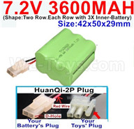 7.2V 3600MAH NiMH Battery Pack-7.2 Volt 3600MAH NI-MH Battery-With HuanQi-2P plug(1X Square hole+ 1X D-Shape Hole.The D-Shape Hole is Red Wire)-(Shape-Two Row.Each Row with 3X Inner-Battery)-Size-42x50x29mm,7.2V RC Car NiMH Battery,7.2V NiMH Battery Pack for rc cars,boat,tank,etc.