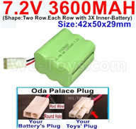 7.2V 3600MAH NiMH Battery Pack-7.2 Volt 3600MAH NI-MH Battery-With Oda Palace Plug(Round hole-Red Wire)-(Shape-Two Row.Each Row with 3X Inner-Battery)-Size-42x50x29mm,7.2V RC Car NiMH Battery,7.2V NiMH Battery Pack for rc cars,boat,tank,etc.