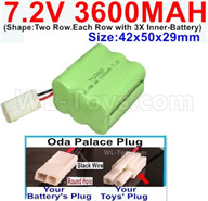 7.2V 3600MAH NiMH Battery Pack-7.2 Volt 3600MAH NI-MH Battery-With Oda Palace Plug(Round hole-Black Wire)-(Shape-Two Row.Each Row with 3X Inner-Battery)-Size-42x50x29mm,7.2V RC Car NiMH Battery,7.2V NiMH Battery Pack for rc cars,boat,tank,etc.