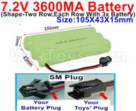 7.2V 3600MAH NiMH Battery Pack-7.2 Volt 3600MAH NI-MH Battery AA-With SM Plug(The D-Shape hole is Black wire)-(Shape-Left and Right Each 3x Battery)-Size-105X43X15mm,7.2V RC Car NiMH Battery,7.2V NiMH Battery Pack for rc cars,boat,tank,etc.