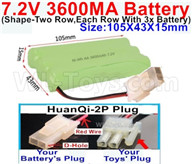 7.2V 3600MAH NiMH Battery Pack-7.2 Volt 3600MAH NI-MH Battery AA-With HuanQi-2P plug(1X Square hole+ 1X D-Shape Hole.The D-Shape Hole is Red Wire)-(Shape-Left and Right Each 3x Battery)-Size-105X43X15mm,7.2V RC Car NiMH Battery,7.2V NiMH Battery Pack for rc cars,boat,tank,etc.