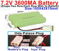 7.2V 3600MAH NiMH Battery Pack-7.2 Volt 3600MAH NI-MH Battery AA-With Oda Palace Plug(Round hole-Red Wire)-(Shape-Left and Right Each 3x Battery)-Size-105X43X15mm,7.2V RC Car NiMH Battery,7.2V NiMH Battery Pack for rc cars,boat,tank,etc.