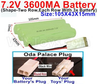 7.2V 3600MAH NiMH Battery Pack-7.2 Volt 3600MAH NI-MH Battery AA-With Oda Palace Plug(Round hole-Black Wire)-(Shape-Left and Right Each 3x Battery)-Size-105X43X15mm,7.2V RC Car NiMH Battery,7.2V NiMH Battery Pack for rc cars,boat,tank,etc.