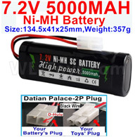 7.2V 5000MAH NiMH Battery Pack-7.2 Volt 5000mah NI-MH Battery AA-With Datian Palace-2P Plug(The D-Shape hole is Black wire)-Size-134.5x41x25mm-Weight-357g,7.2V RC Car NiMH Battery,7.2V NiMH Battery Pack for rc cars,boat,tank,etc.