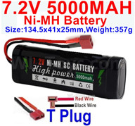 7.2V 5000MAH NiMH Battery Pack-7.2 Volt 5000mah NI-MH Battery AA-With T Plug-Horizontal-Red wire,Vertical-Black Wire-Size-134.5x41x25mm-Weight-357g,7.2V RC Car NiMH Battery,7.2V NiMH Battery Pack for rc cars,boat,tank,etc.