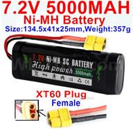 7.2V 5000MAH NiMH Battery Pack-7.2 Volt 5000mah NI-MH Battery AA-With XT60 Plug-Female Plug-Size-134.5x41x25mm-Weight-357g,7.2V RC Car NiMH Battery,7.2V NiMH Battery Pack for rc cars,boat,tank,etc.