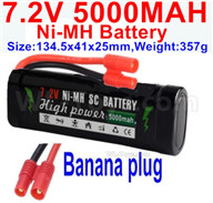 7.2V 5000MAH NiMH Battery Pack-7.2 Volt 5000mah NI-MH Battery AA-With Banana Plug-Size-134.5x41x25mm-Weight-357g,7.2V RC Car NiMH Battery,7.2V NiMH Battery Pack for rc cars,boat,tank,etc.